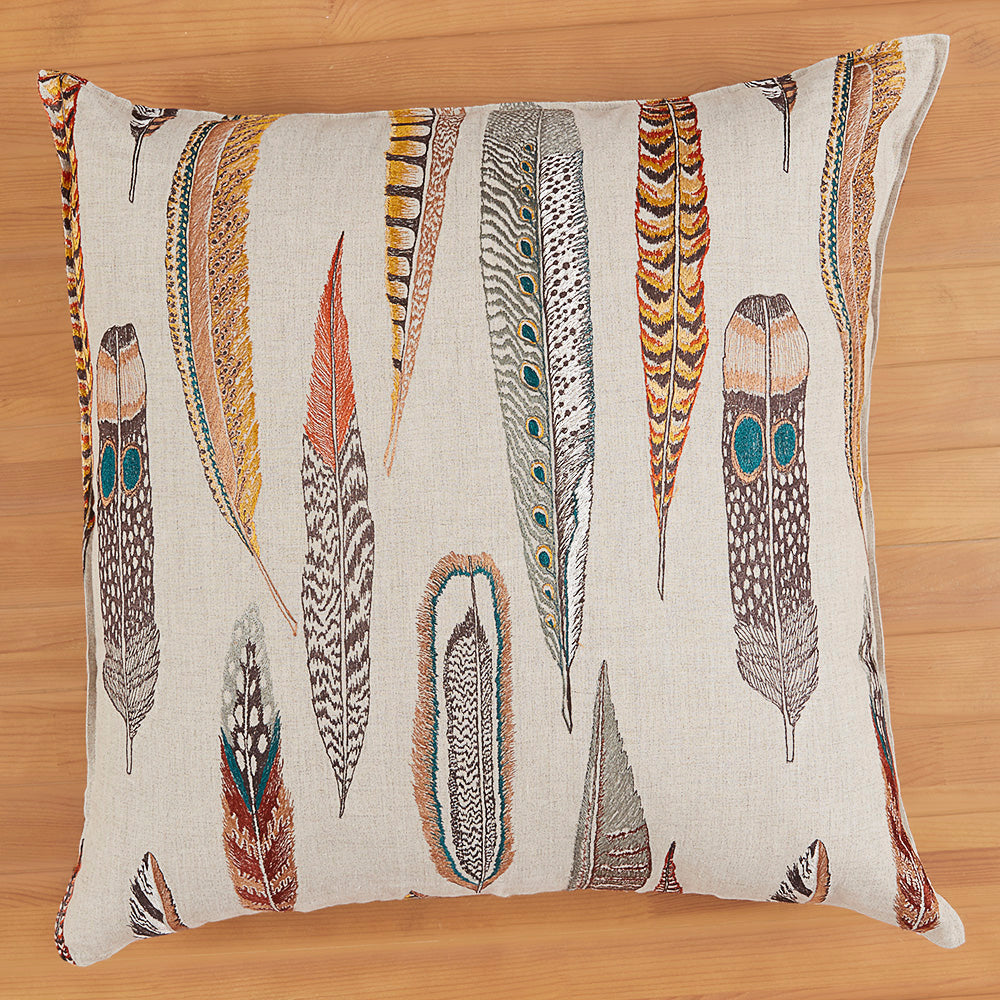 "Coral & Tusk 26"" x 26"" Embroidered Linen Accent Pillow, Plumes"