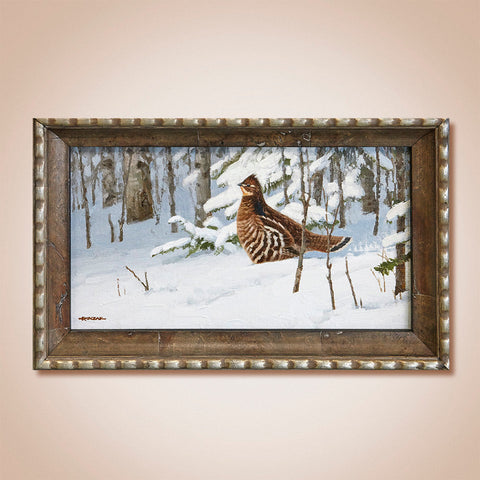 """Fresh Snow-Ruffed Grouse"" Original Oil Painting by Jim Rataczak"