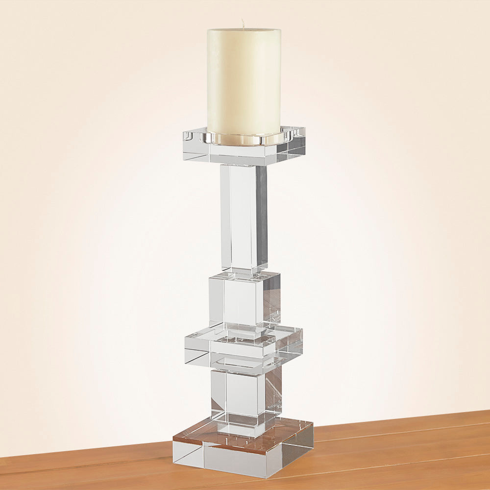 Brilliant Crystal Pillar Candleholder