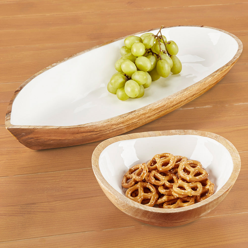 Be Home Oval Mango Wood and Enamel Dish