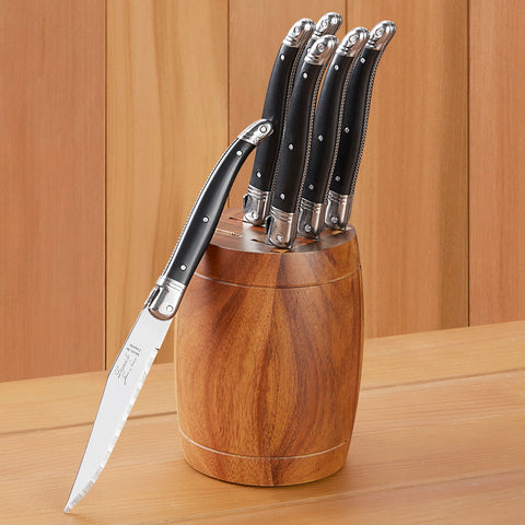 Laguiole Platine Knives and Barrel Block, Set of 6