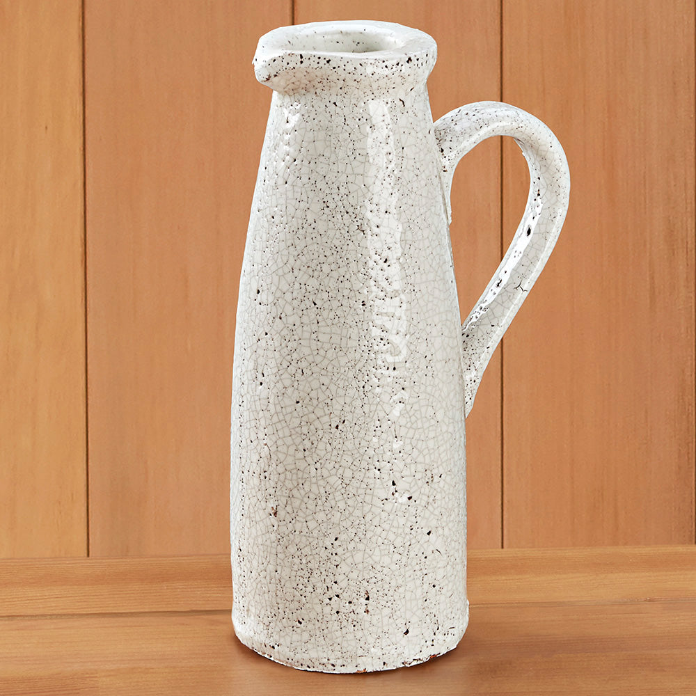 White Ceramic Pitcher with Crackled Glaze