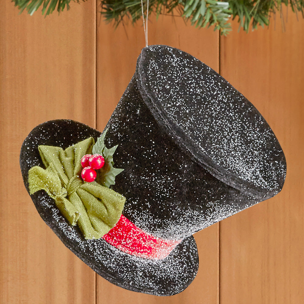 Snow Glittered Black Top Hat - Ornament and Table Accent