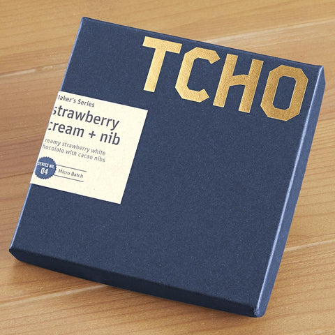 "TCHO White Chocolate ""Strawberry Cream + Nib"" Limited Edition Maker's Series Bar, 2.5 ounces"