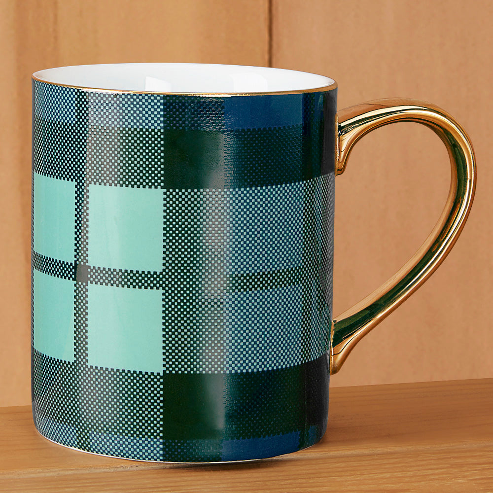 Plaid Porcelain Mug with Gold Handle - 8 oz