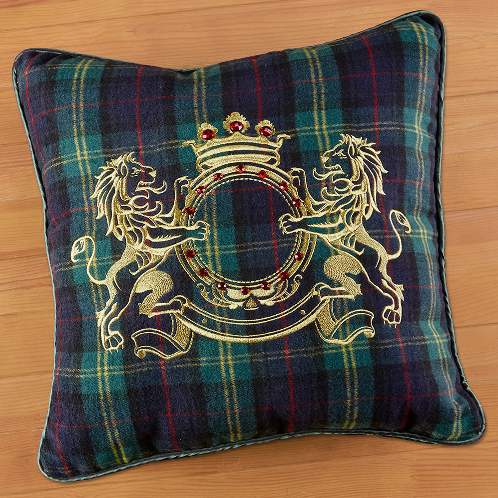 Blue and Green Tartan Plaid Lion Crest Flannel Pillow, 20""