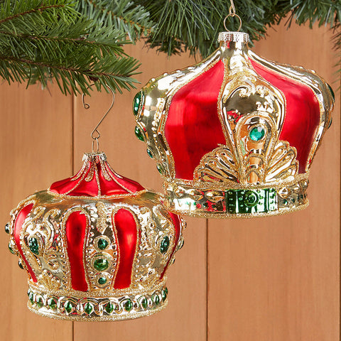 Red and Gold Glass Crown Ornament