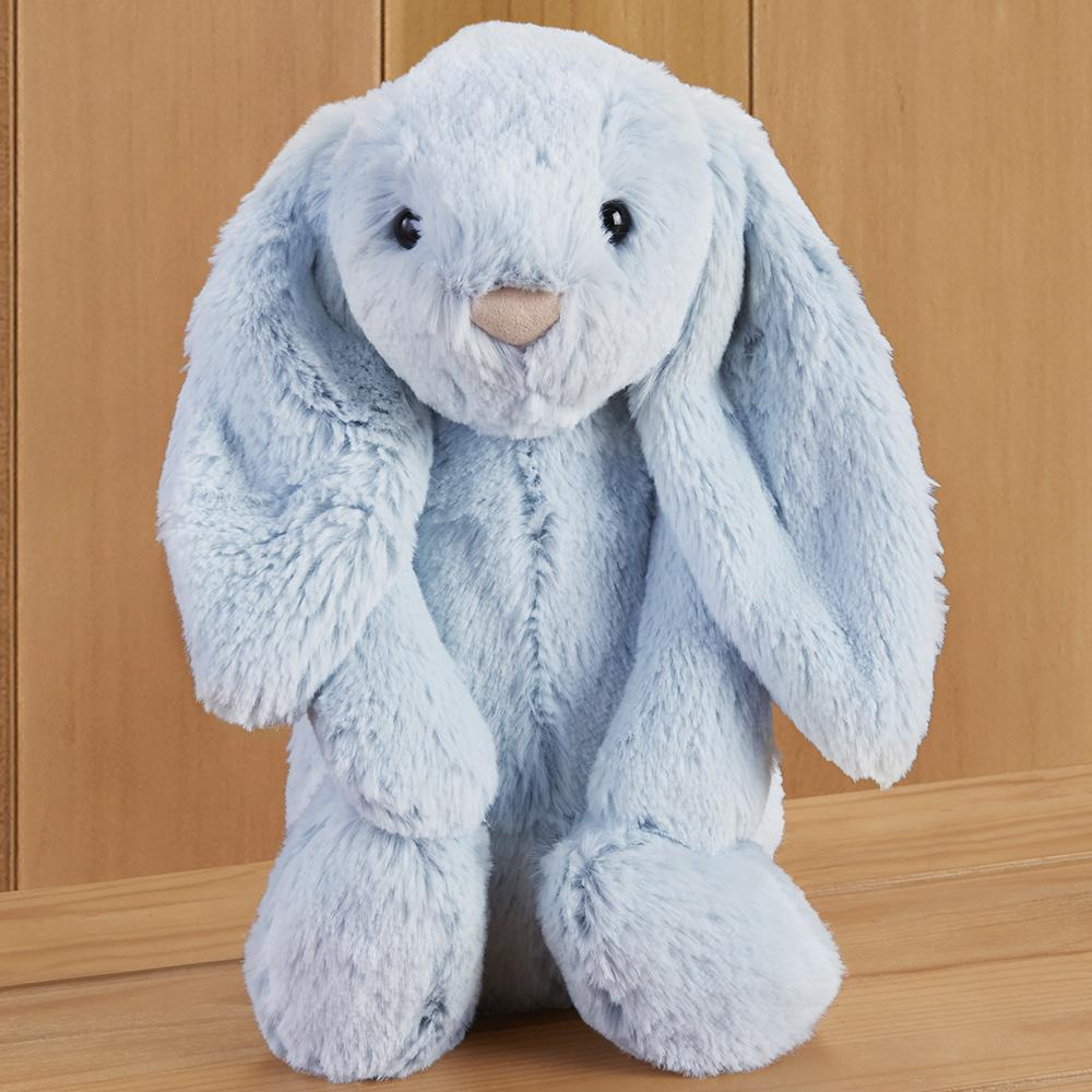 Bashful Bunny Stuffed Animal by Jellycat, Beau Blue