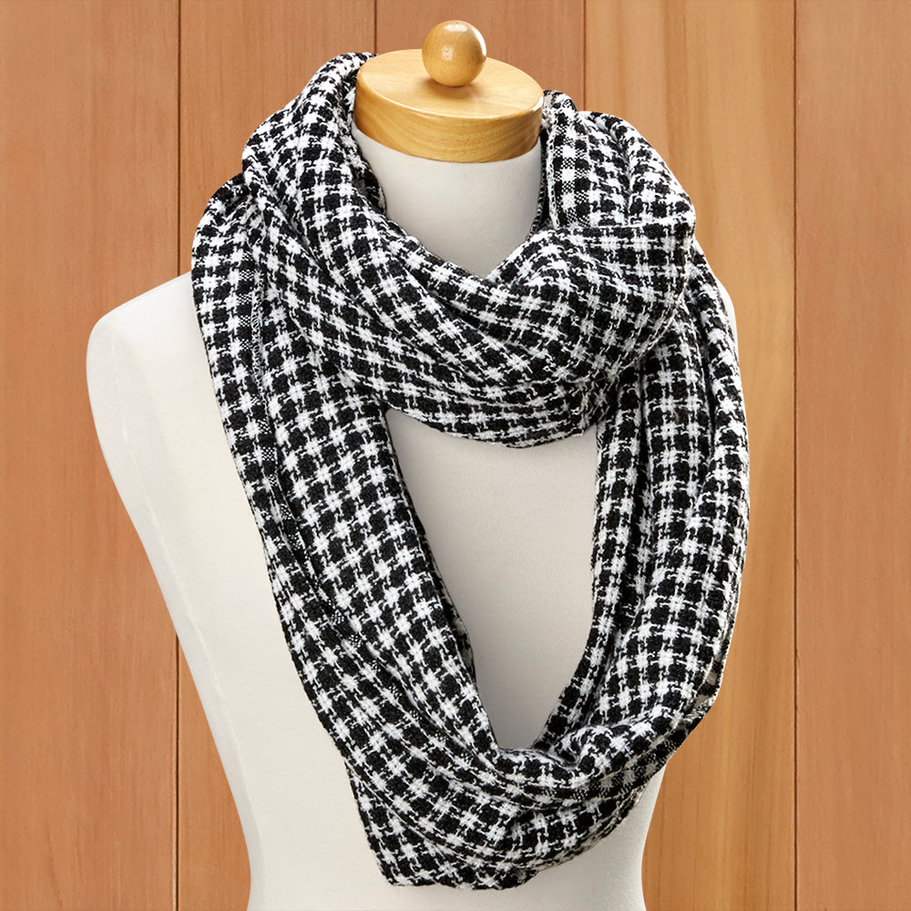 Black and White Houndstooth Infinity Scarf