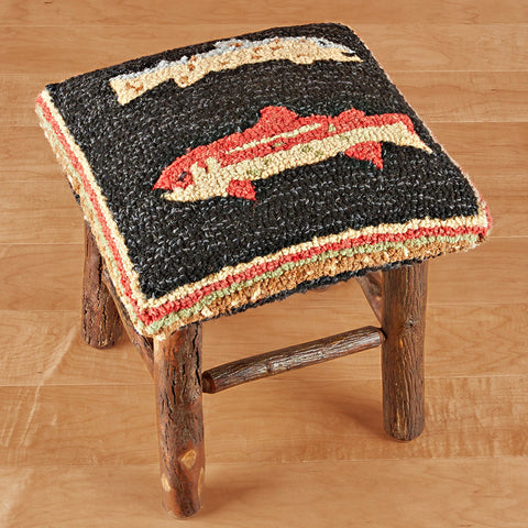 "Chandler 4 Corners 17"" Hickory Stool, River Fish"