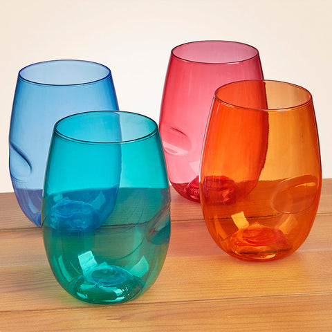 Govino® Shatterproof Stemless Colored Wine Glasses, Set of 4