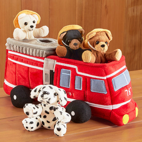 Fire Truck with Fire Fighter Stuffed Animals