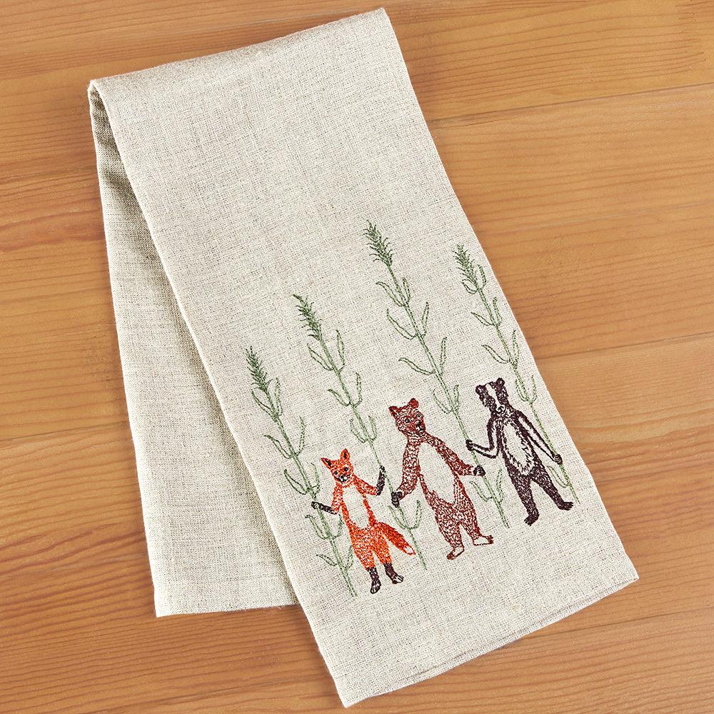 Coral & Tusk Embroidered Linen Tea Towel - Fox, Bear and Badger