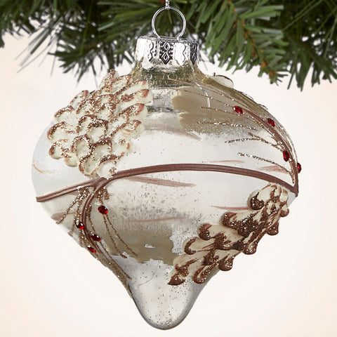 "Pinecone and Twig Glass Ornament - 4.25"", 5"" and 5.25"""