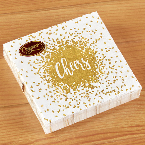 Caspari Paper Cocktail Napkins - Gold Cheers