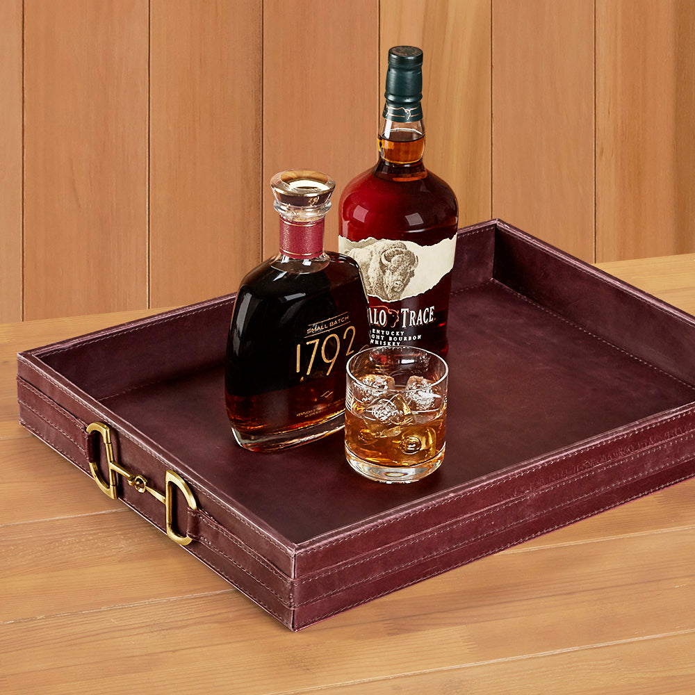 Garnet Leather Serving Tray with Stirrup Accents