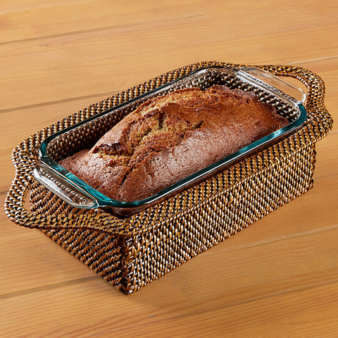 Calaisio Woven Loaf Pan Holder with Pyrex Baking Dish