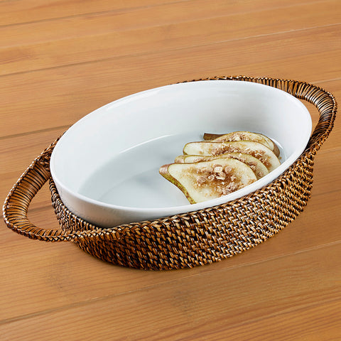 Calaisio Woven Casserole Holder and Oval Porcelain Baking Dish