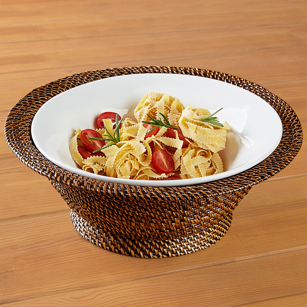 Calaisio Woven Footed Basket and Flared Porcelain Serving Bowl