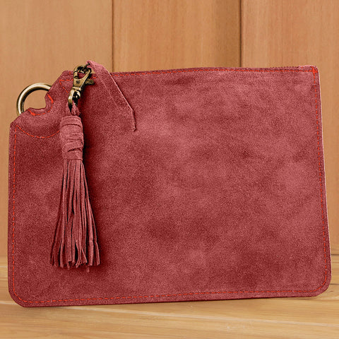 Mer-Sea Suede Zipper Clutch with Tassel