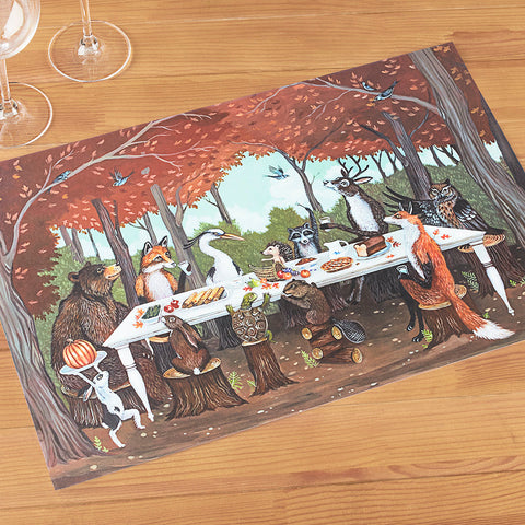 Hester & Cook Paper Placemats, Woodland Friends Thanksgiving