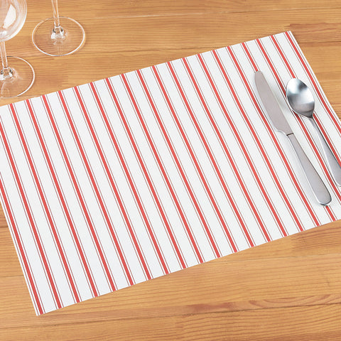 Hester & Cook Paper Placemats, Red Stripe Ribbon
