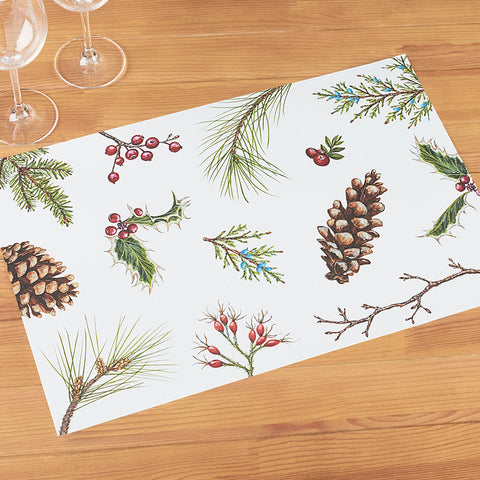Hester & Cook Paper Placemats, Winter Collage Pinecone and Berry