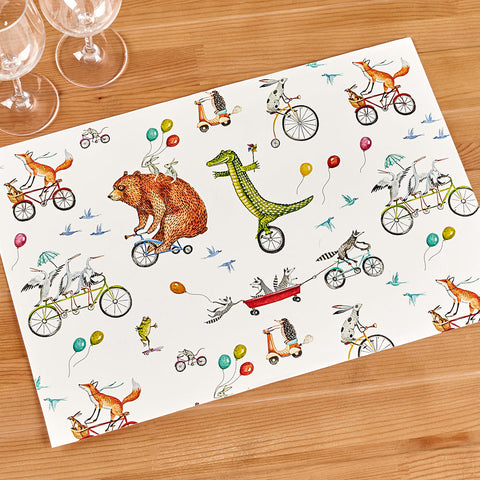 Hester & Cook Paper Placemats, Animals on Wheels