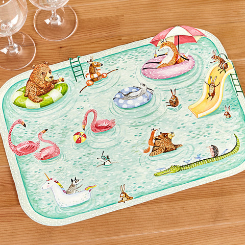 Hester & Cook Die Cut Paper Placemats, Pool Party