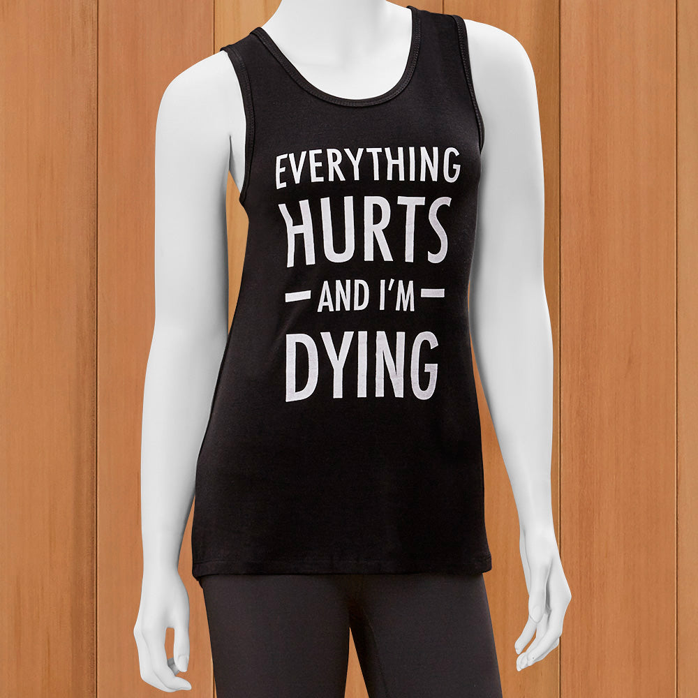 "Mary Square Women's Racerback Tank Top, ""Everything Hurts"""
