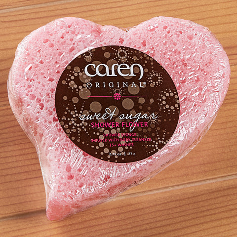 Caren Original Shower Soap Heart Sponge, Sweet Sugar - 2.75 oz