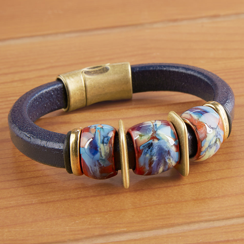 Montana Leather Beaded Leather Bracelet, Boulder Collection