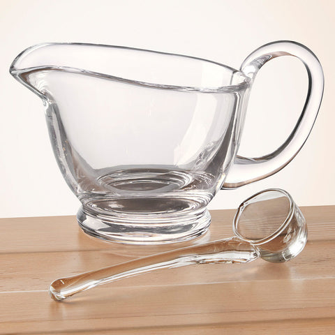 Badash Glass Gravy Boat and Ladle