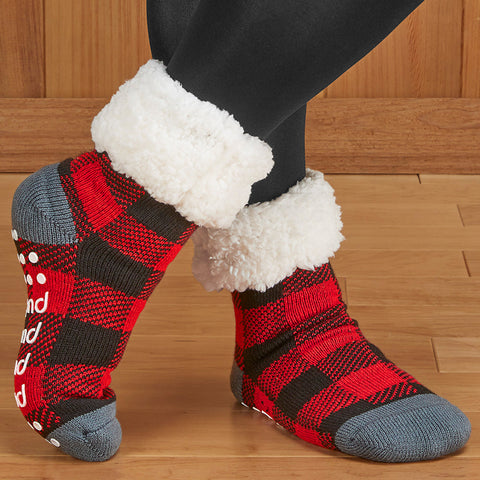 Pudus Slipper Socks, Red Plaid