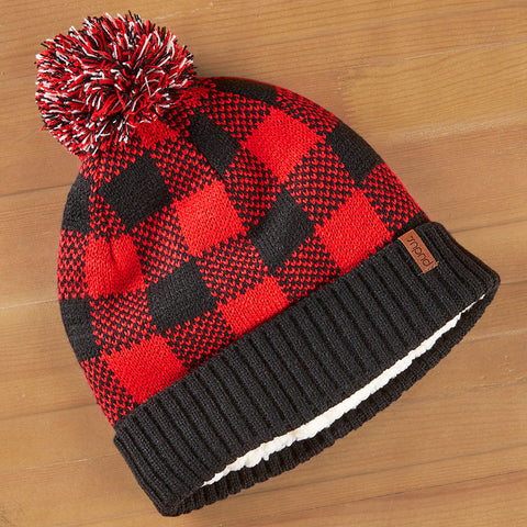 Pudus Pom Pom Beanie, Red Plaid