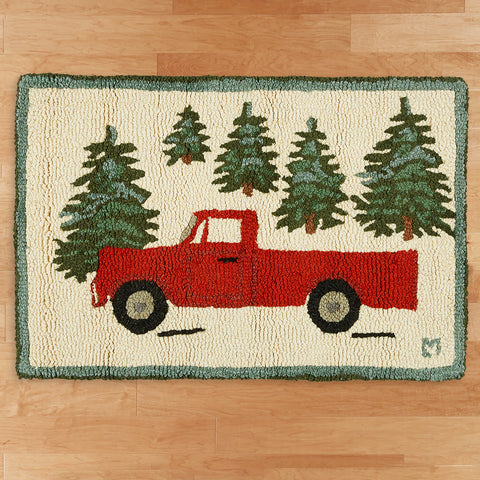 "Chandler 4 Corners 20"" x 30"" Hooked Rug, Red Truck in Forest"