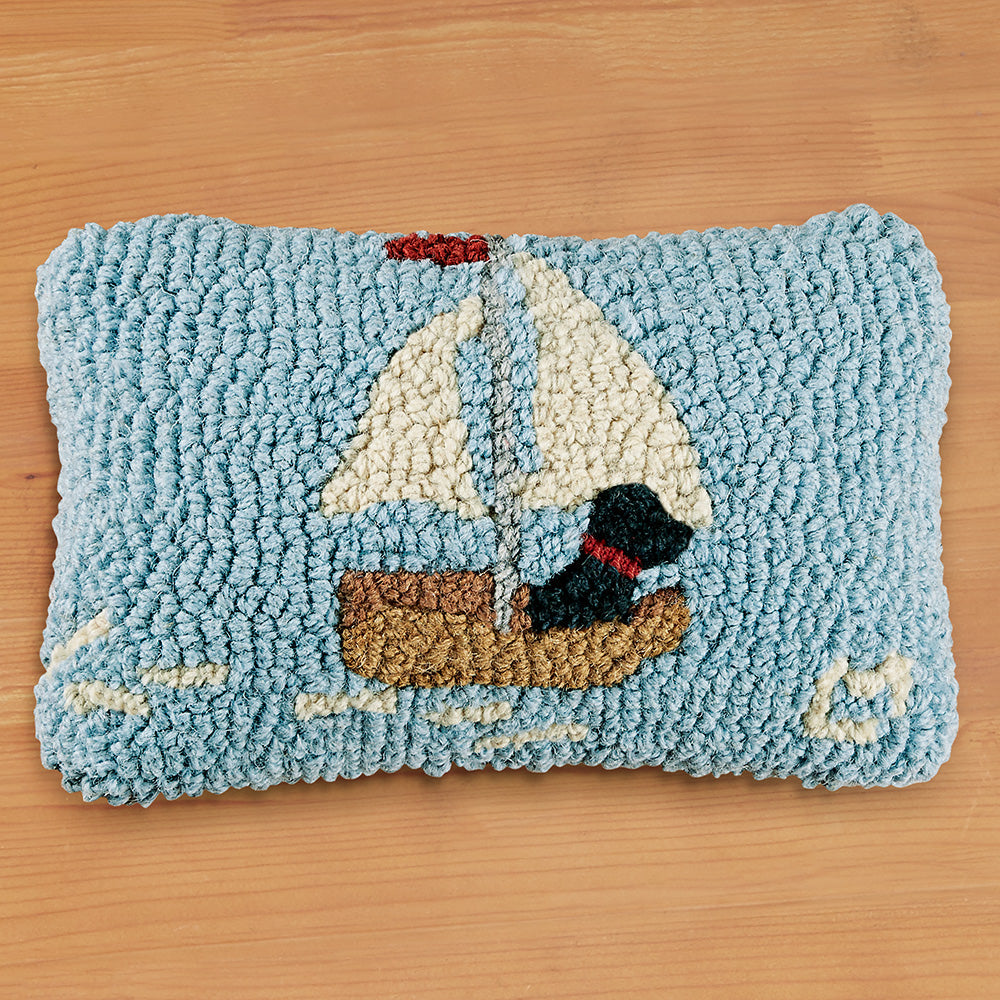 "Chandler 4 Corners 8"" x 12"" Hooked Pillow, Skiff Sailing Lab"