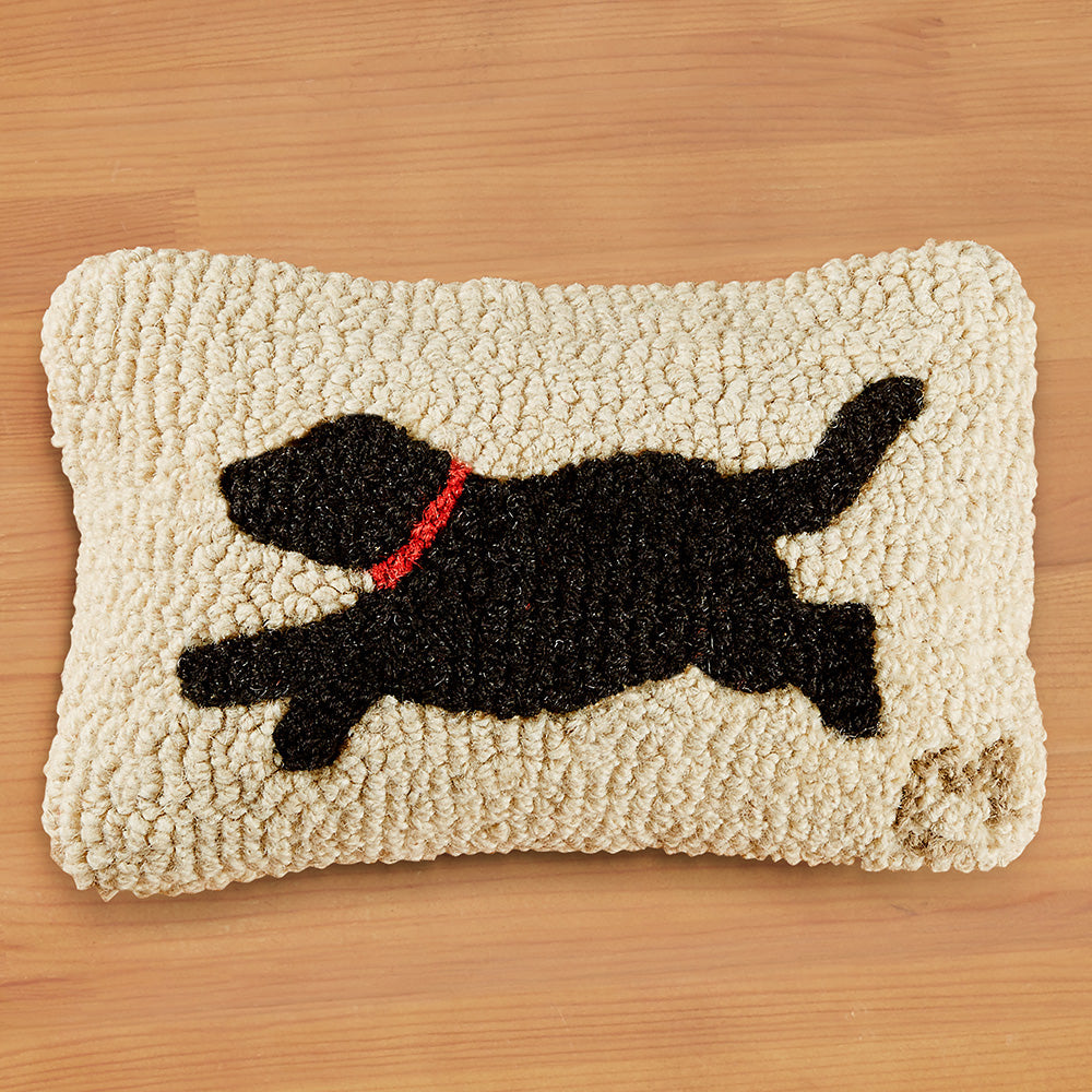 "Chandler 4 Corners 8"" x 12"" Hooked Pillow, Running Black Dog"