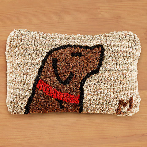 "Chandler 4 Corners 8"" x 12"" Hooked Pillow, Begging Chocolate Lab"
