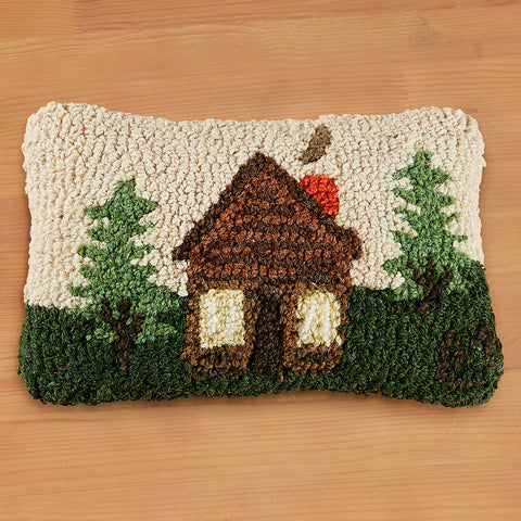"Chandler 4 Corners 8"" x 12"" Hooked Pillow, Rocky Hill Cabin"