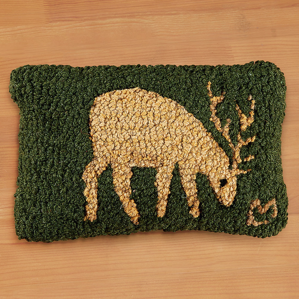 "Chandler 4 Corners 8"" x 12"" Hooked Pillow, Deer on Green"