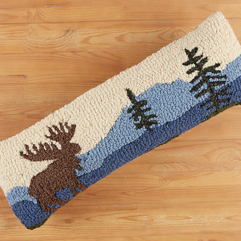 "Chandler 4 Corners 8"" x 24"" Hooked Pillow, Mountain Moose"