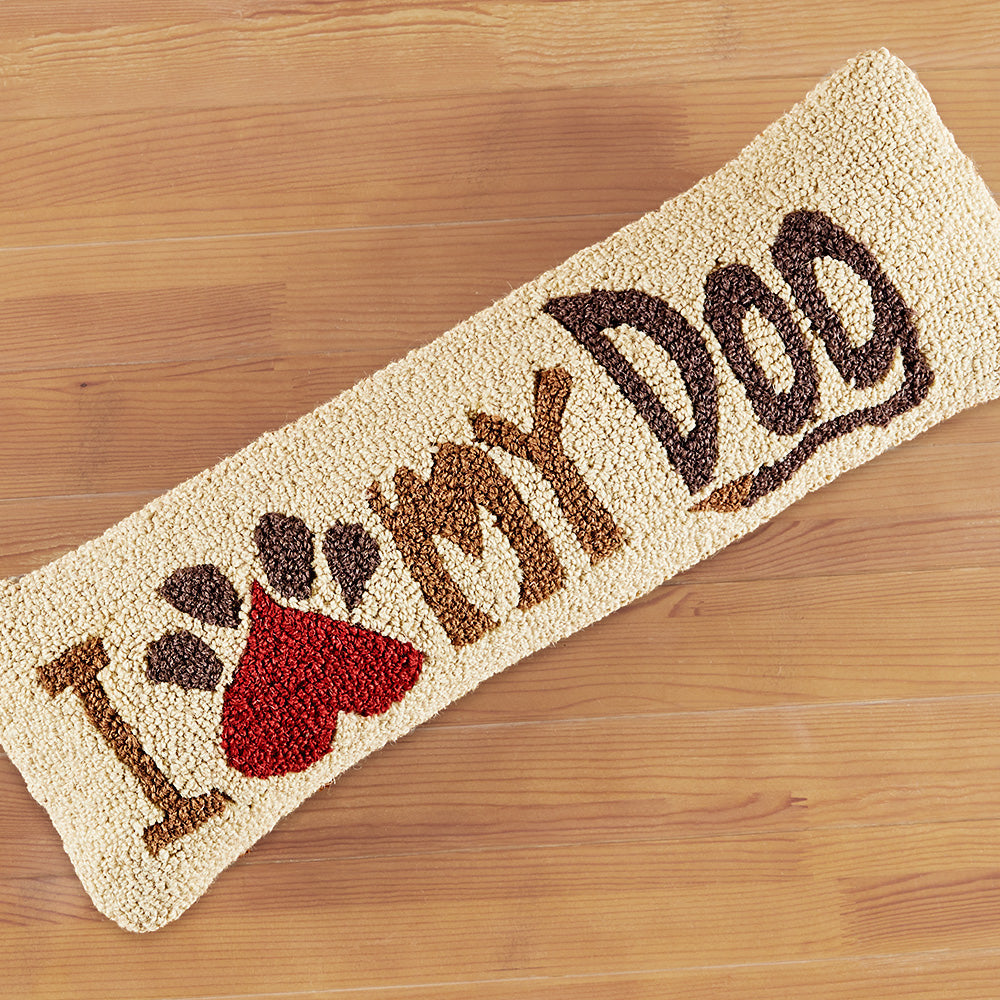 "Chandler 4 Corners 8"" x 24"" Hooked Pillow, I Love My Dog"