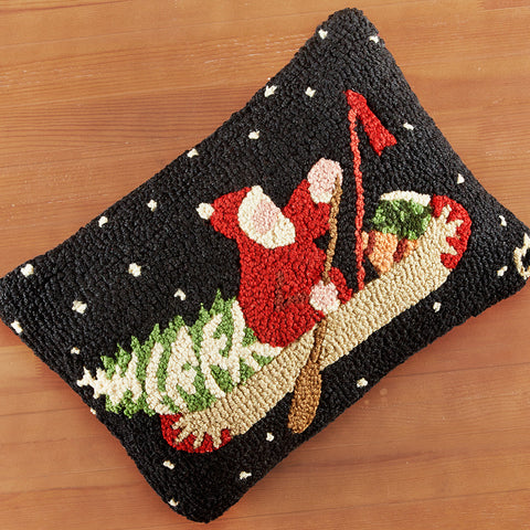 "Chandler 4 Corners 14"" x 20"" Hooked Pillow, Santa's Last Delivery"