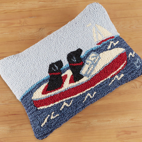 "Chandler 4 Corners 14"" x 20"" Hooked Pillow, Boating Labs"