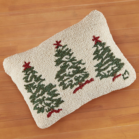 "Chandler 4 Corners 14"" x 20"" Hooked Pillow, Trees on White"