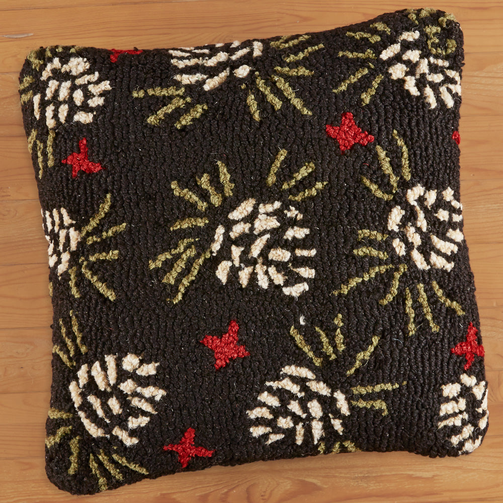 "Chandler 4 Corners 18"" Hooked Pillow, Pine Blossom"