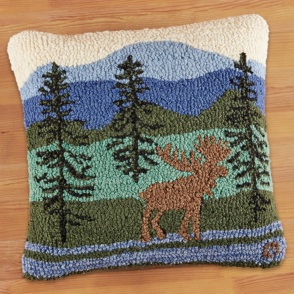 "Chandler 4 Corners 18"" Hooked Pillow, Eastern Mountain Moose"