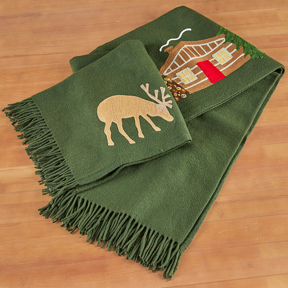 Chandler 4 Corners Hooked Wool Blanket, Hunting Cabin
