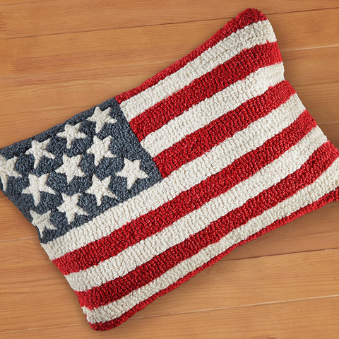 "Chandler 4 Corners 14"" x 20"" Hooked Pillow, Stars and Stripes"